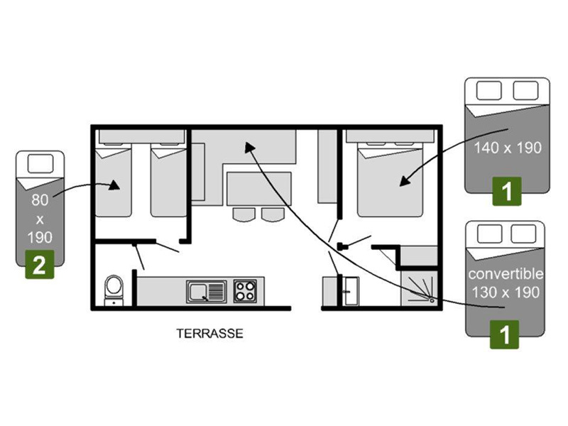 Plan Mobil-home 2 chambres