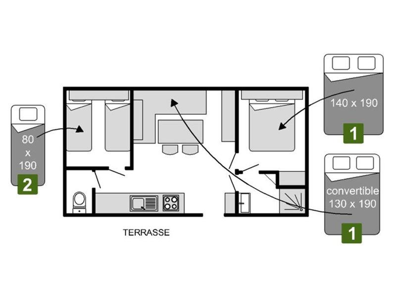 Plan Mobil-home 2 chambres